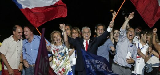 Chile's former President Sebastian Pinera greets supporters as they celebrate his winning the presidential election runoff in Santiago, Chile, Sunday, Dec. 17, 2017. (AP Photo/Luis Hidalgo)